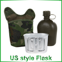 Wholesale Quality Plastic DPM Pouch Water Bottle And Alloy Cup Military Canteen Digital CAMO