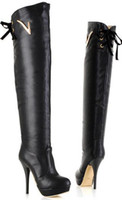 cavalier - Top PU Women thin high heels Autumn and winter leather boots cavalier boots