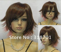 Wholesale New Brown and pink mixed color Straight Short fluffy Cosplay Wig