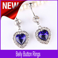Wholesale Beautiful Dangle Belly Burtton Rings Crystal Rhinestone Blue Heart Navel Piercing Body Jewelry QT12
