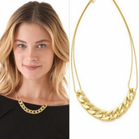 Wholesale 6PCS Fashion Punk Style Gold Plated Alloy Chunky Link Chain Necklaces A05024
