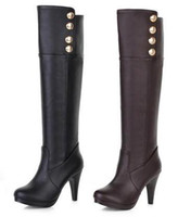 Wholesale Top PU Women thin heels Rivet winter leather boots cavalier over knee boots