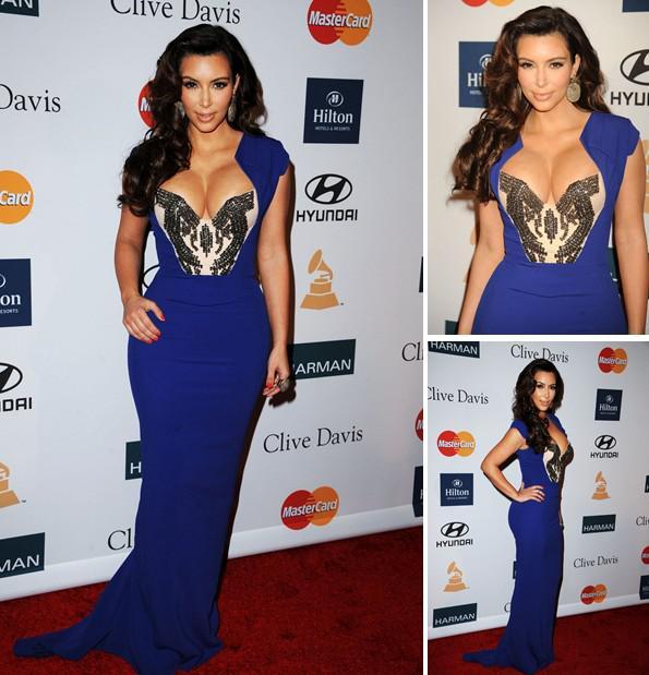 2013 Prom Dress Kim Kardashian Blue Evening Dresses Cap Sleeves ...