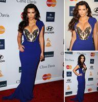 Reference Images Oscar Awards High Neck 2013 Prom Dress Kim Kardashian Blue Evening Dresses Cap Sleeves Sweetheart Mermaid Celebrity Dresses