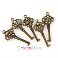 Wholesale 120 key Shaped Charms Pendants Beads Antique Bronze Pandent Bead Fit CHAIN Necklace