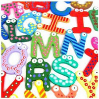 Wholesale 26 alphabet Wooden Colorful Cartoon Fridge Magnets Refrigerator sticker cute Magnetic