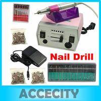 Wholesale 110V Electric Nail Art Drill Manicure Machine Kit Bits Foot Pedal Sanding Bands Nail Fi