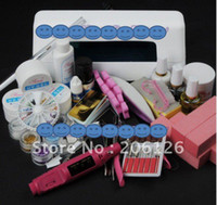 Wholesale PRO FULL W UV GEL White Lamp NAIL KIT Powder Nail Drill