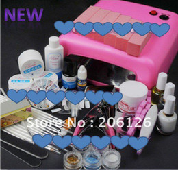 Wholesale Pro W UV GEL Pink Lamp NAIL Art KIT Powder Brush Set tips polish F