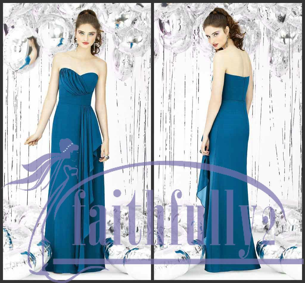 Ocean blue bridesmaid dress sheath sweetheart chiffon for Ocean blue wedding dress