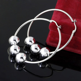 Fashion women party Stainless Steel silver 12mm shinying bead 2in.hoop Earring free shipping