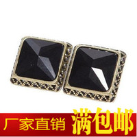 Wholesale 10Pair Korean Fashion Jewelry Minimalist Black And White Crystal Box Earrings