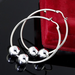 Fashion girls party jewelry Stainless Steel silver 12mm Acryl bead 2in.hoop Earring fiancee gifts