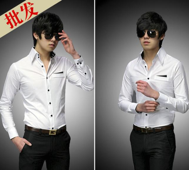 Classic White Men's Shirts Business Formal Occasions Groomsman ...