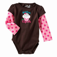 Wholesale Jumping Beans Baby Romper Brown Cupcake Infant Long Sleeve One Piece Bodysuits Baby Clothes