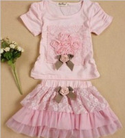 Wholesale New Arrival Cute High Quality Cotton Pink Baby Girl s Two piece Sets Children s Lace Skirt T shirts