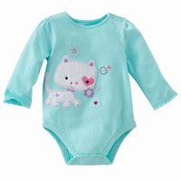 Wholesale Jumping Beans Baby Rompers Blue Cat Infant Long Sleeve One Piece Bodysuits Baby Clothing