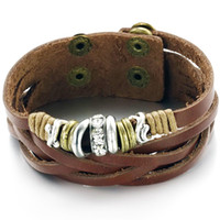 Wholesale HOT REAL LEATHER BRACELET CUFF WRAP STYLE WITH DIAMOND CHARMS BROWN JWELRY