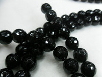Wholesale Grade A mm Black Agate Faceted Onyx Round Beads Gemstone round beads strings per