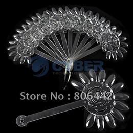 Wholesale AJ402 False Nail Art Board Tips Stick Foldable Polish Display Practice Transparent Fan Clear