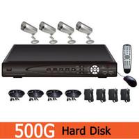 Cheap 4CH 36IR LED Sony CCD CCTV Camera with HD CIF H.264 DVR Security System Kit 500G