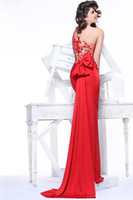 Wholesale Tarik Ediz New Sexy One Shoulder Red Mermaid Satin Evening Dresses With Applique Back TE92188