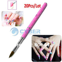 Wholesale 20Pcs Pink Nail Art Brush Acrylic Carving Nail Pen NO Crystal Powder Tool