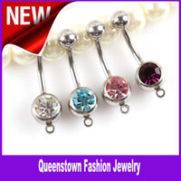 Stainless Steel add rhinestones - Body Jewelry Surgical L Steel Navel Ring Belly Button Ring Add You Own Charm Accessory Colors