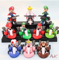 "other New Year  Retail Super Mario Bros Kart Pull Back Car 2"" figure Toy Mario Brother Pullback Cars Dolls Set of 10"