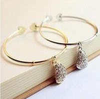 Wholesale 12pcs fashion jewelry wedding Bracelet heart charm Rhinestone cuff bangle wide Hand chain woman accessories JB003