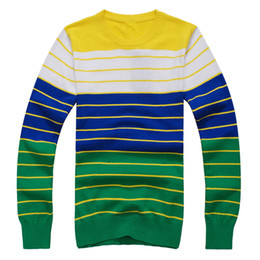 Wholesale Best Selling Mens Sweaters Round Neck Stripe Classic Fit Long Sleeve cashmere Sweaters oj15