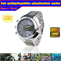 Wholesale Free ship by SG New Invisible Camera Watch GB p hd spy dvr recorder IR Night Vision Waterproof