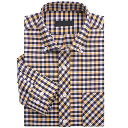 Wholesale Hottest Mens ShirtsXXXL in stock Men s Checker Plaid Long Sleeve Shirt Casual Dress Business NJF41