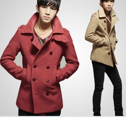 Wholesale Men s coat double breasted fashion overcoat autumn and winter Medium style coats colors