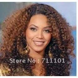 Wholesale promotion afro jerry kinky curl indian human hair lace front wig