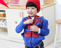 Wholesale Winter Children Boy s SPIDERMAN Warm Design Hooded Coat Cotton padded Hoody Clothing New