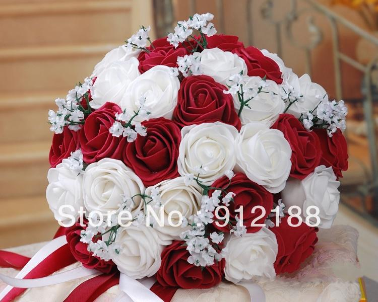white and red wedding bridal bouquet flower 28cm diameter flowers balls dried wedding flowers. Black Bedroom Furniture Sets. Home Design Ideas