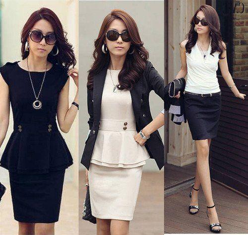 Online Cheap Womens Twinset Ol Dress Suit Sleeveless Peplum Tops ...