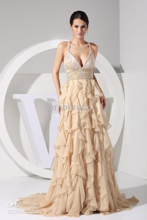 Elegant Gold 2013 Wedding Chiffon Dresses Ball Evening Formal Prom ...