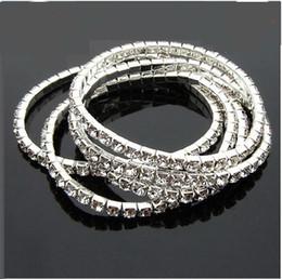 Hot Sale 30Pcs Wedding Bracelet White full rhinestone elastic single row bracelet free shipping
