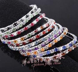 New arrive 30Pcs Mix colors Full rhinestone elastic single row bracelet Wedding Bridal Phrom Crystal Bracelets free shipping