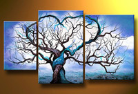 hand painted - hand painted Blue ocean tree Decoration Modern Landscape Oil Painting on canvas set