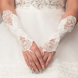 Wholesale 2014 Fashion Simple Lace Applique Beading White or Ivory Fingerless Bridal Gloves Bridal Accessories