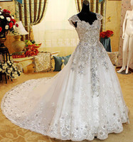 Wholesale Luxury Crystal Cathedral Train Wedding Dress New Off The Shoulder Applique Beaded Bridal Gown