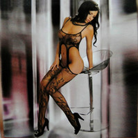 Cheap Women Fashion Sexy Lingerie One Piece Bodystocking Sling Jacquard Black Open Pantyhose 12pcs lot