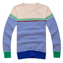 Wholesale Best Selling Mens Sweaters Round Neck Stripe Classic Fit Long Sleeve cashmere Sweaters jh64hg