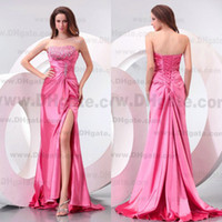 Wholesale New Style Fashion Pink Colour Beading Applique Beading Stretch Satin Party Prom Dress PD0144