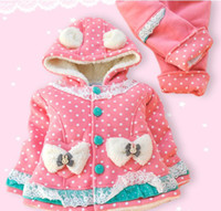 Girl 1-3Year baby 100% Cotton Wholesale - baby's tracksuit girls clothing set bowknot cotton hoodies coat+pants abby 2pcs