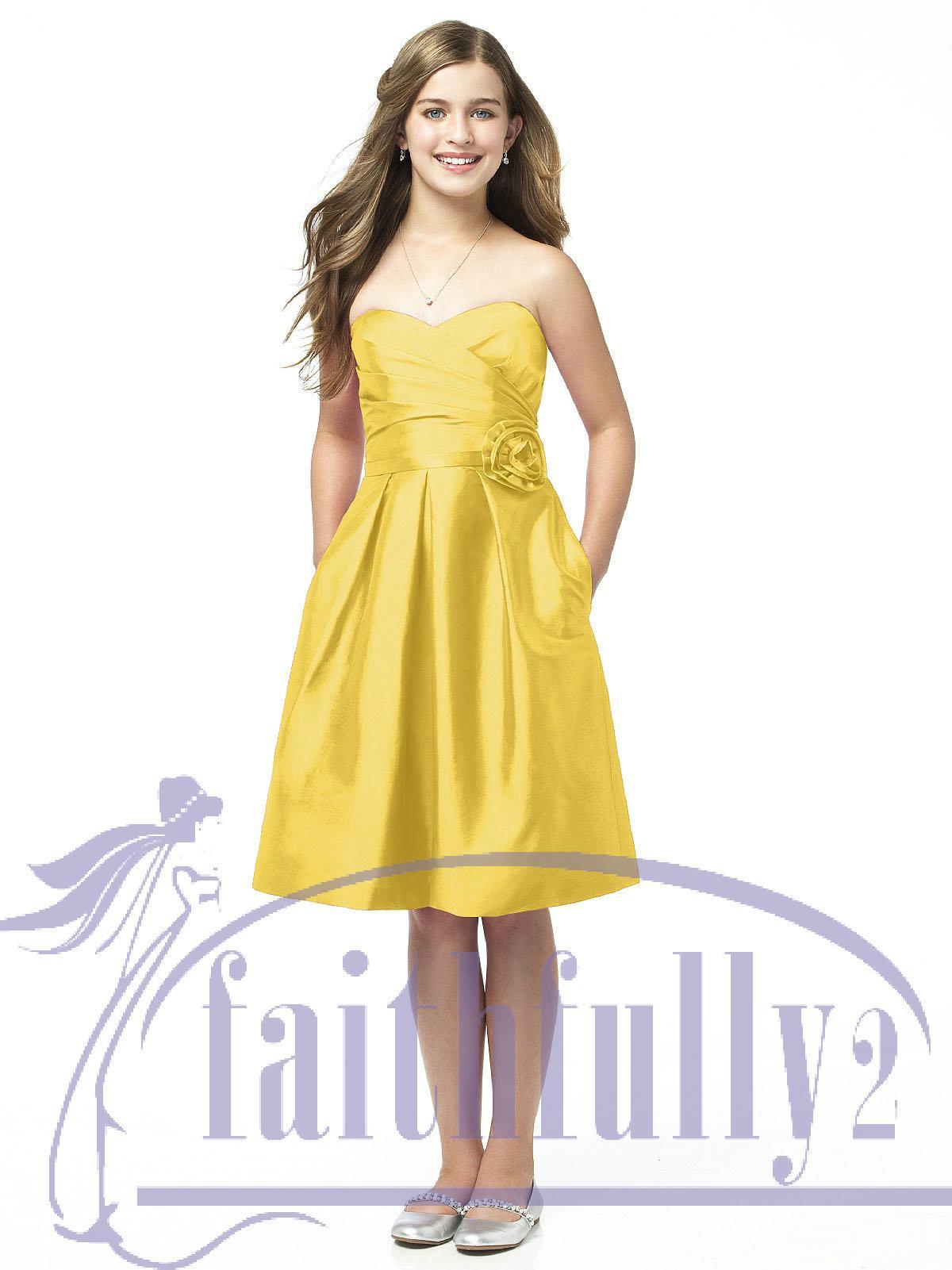 Junior bridesmaid dress canary yellow