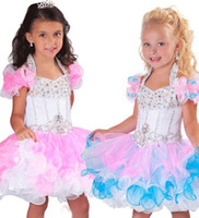 Wholesale 2016 Mini Colorful Ball Gowns Cupcake B207 Little Girl Organza Pageant Ruffled Tiered Birthday Dresses HW121